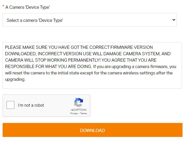 Select the firmware which matches your camera